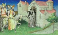 "oil painting handpainted on canvas"" King David VII of Georgia  on a hunt""@12521"