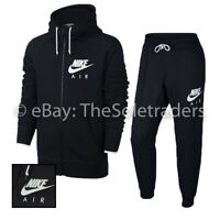 Men's Nike Air Sportswear Slim Fit Full Zip Tracksuit Set Black 727387 727369