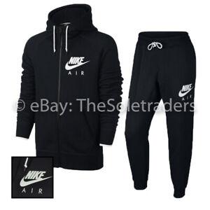 Men's Nike Air Sportswear Slim Fit Full Zip Tracksuit Set Black 727387 727369
