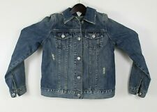 Woman's Maternity Jean Jacket Old Navy Size XS Extra Small Distressed Blue