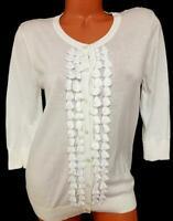 Merona white button down ruffle trim women's 3/4 sleeve cardigan sweater XXL