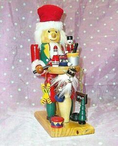 """SITTING ELF TOY MAKER  WOODEN NUTCRACKER"" Drum, sled, painting, mini nutcracker"
