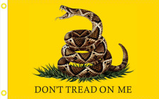 Gadsden Don't Tread on Me Realistic Rattlesnake Flag 3x5 Ft Banner Grommets 100D