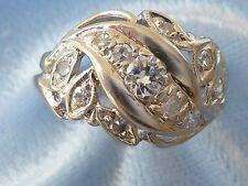 Vintage 14K White Gold Ring, 3.5mm, 8, 2mm, & 2, 1.5mm Diamonds, TCW .44, Size 5