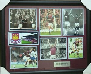 WEST HAM MONTAGE SIGNED PHOTOS OF VARIOUS PLAYERS FRAMED