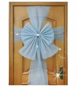 Xmas Door Bow Deluxe Full Wrap Double Wedding Decoration Traditional Gift SILVER