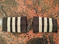 3 Bar Professional Airline Pilot Epaulets First Officer. Silver stripes/ black.