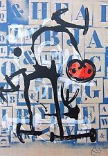 "Joan Miró Vintage montado, impresión indeleble Miro, 1972, 14 X 11"". Miro 3IM123"