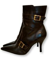 Matisse Brown Leather Stiletto Heel Ankle Boots Sz 6M Brass Buckles
