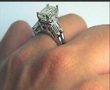 3.4 ct Emerald Cut Diamond Wedding Engagement Ring Set 14K White Gold