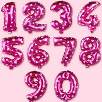 "2 / 10 pcs Pink Blue 16"" Birthday Wedding Party Decor Foil Letter Number Balloon"