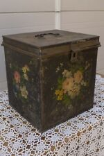 Antique Old Handmade Metal Painted Sewing Box Alpine Region about 1860