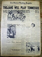 1939 headline newspaper UCLA to play TENNESSEE in 1940 ROSE BOWL FOOTBALL GAME