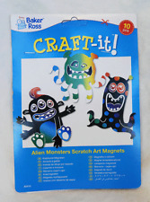 Pack of 10 Alien Monster Scratch Art Magnets - Children's Crafts - BNIB
