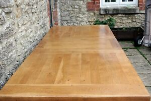 Fabulous Rare Bergerac Plank Top Solid Oak French Farmhouse Refectory Table