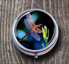 DRAGONFLY PINK WINGS PILL BOX ROUND METAL -dsa3Z