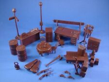 Marx Untouchables Playset Freight Gas Station Diner Furniture 34 Pieces RECAST