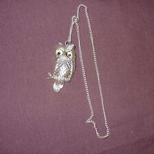 """Vintage Owl Pendent Necklace 2"""" Plastic Color Silver Googly Eyes Toy Girls"""