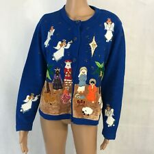 Berek 2 Womens Christmas Nativity Cardigan Sweater Size L Large Embellished