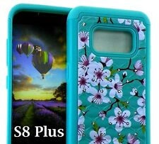 Samsung Galaxy S8+ PLUS - Hybrid Diamond Bling Armor Case Mint Blue Pink Flowers