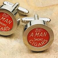 New Novelty Cufflinks Vintage Advertisement  Smoke Cigars Tobacciana D75