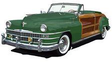 Chrysler 1947 Town & Country convertible canvas art print  - green