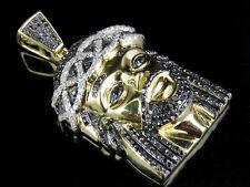 Uomo 10K Oro Giallo Nero Trattato Diamante Faccia Gesù Ciondolo 1 Ct 4.1cm