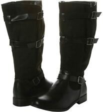 Evans Lena Womens UK 6 EEE Extra Wide Fit Black Zip Up Knee High Tall Boots New