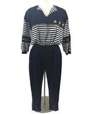 Vtg 80's Donna Toran Nautical Jumpsuit Size XL Cotton Blend Blue Gold Accents