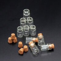 Set of 10 Glass Bottles w/ Corks Miniature Kitchen Empty Jars 1:12 Dollhouse New