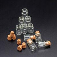 Set of 10 Glass Bottles w/ Corks Miniature Kitchen Empty Jars 1:12 Dollhouse New