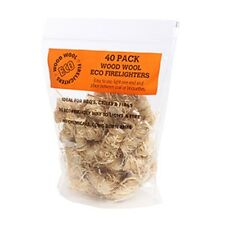 40 PACK ECO FIRELIGHTERS Wax Wood Wool Firelighter fire chemical free lighters