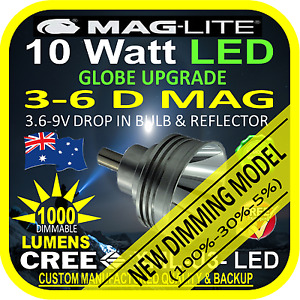 MAGLITE UPGRADE LED 3-6 D BULB GLOBE for TORCH FLASHLIGHT 3.6-9V 1000lm DIMMABLE