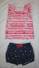 Infant Girls CUDDLE BEAR Patriotic 4th of July Tank Top Shirt & Shorts 24 months