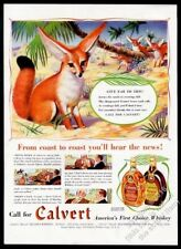 1939 fennec fox family Cute art Calvert Special Reserve whiskey vintage print ad