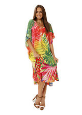 new LURID BY SACRED COLLECTIONS V NECK RELAX FIT KAFTAN DRESS one sz