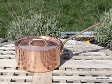 """Copper 6-1/2"""" Saucepan w/ Lid, tin lined, 1.7 mm, Made in France"""