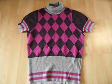 PEPE Jeans Rollkragenpullover Rautenmuster Lurex grau pink lila Gr. M   516