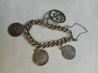 Antique silver coins 1870/82 significant chain bracelet with safety chain,46.9 g