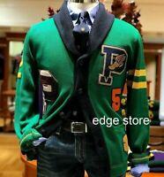 Polo Ralph Lauren Pwing Patchwork Letterman Preppy Varsity Knit Sweater Cardigan