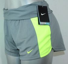 Nike Women's Dri-Fit Knit Training Shorts NWT Color Gray & Neon Lemon Sz XSmall