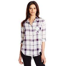 Rails NEW M Navy Purple White Plaid Charli Linen Button Front Shirt