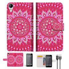 Hot Pink AZTEC TRIBAL Wallet TPU Case Cover For HTC Desire 825 -- A004