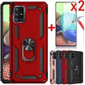 For Samsung Galaxy A51 A71 A52 A72 Case, Ring Kickstand+Tempered Glass Protector