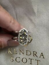 Kendra Scott Elyse Oval Ring in Platinum Drusy size 7