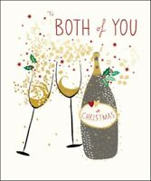 To Both Of You Peach & Prosecco Christmas Greeting Card Gold Foil Cards