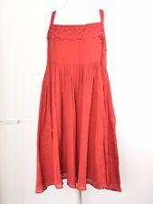 Noa Noa Denmark Dress Smock Lagenlook Coral Red Layered Empire Cotton Summer M