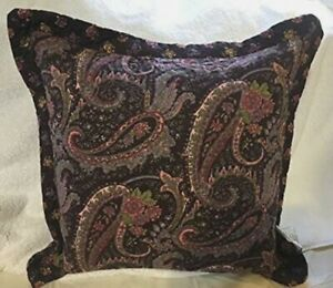 April Cornell Decorative Paisley Floral Throw Pillow Toss Wine Pink Green Yellow
