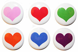 """1"""" (25mm) Plain Love Heart Button Badge Pins - High Quality - MADE IN UK"""
