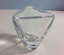 Val St Lambert Tricornered Vase Toothpick Holder Miniature Crystal Art Glass